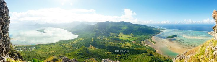 Another Day in Paradise - Overviewing the island of mauritius, from the Le Morne Brabant mountain. Perfect weather, giving nice colors on the coast, the west on the left and south on the right.
