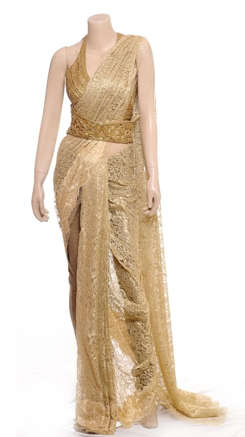 Golden Lace Saree | Strandofsilk.com - Indian Designers - Indian Sarees - Indian Style - Lace Saree with Blouse - Wedding @Samantha Watson @Ashley Walters Walters Walters Concepcion @Mary Powers Powers Rossettie El-Sebai @Mauren Decou Decou Decou Anchia @A Marie