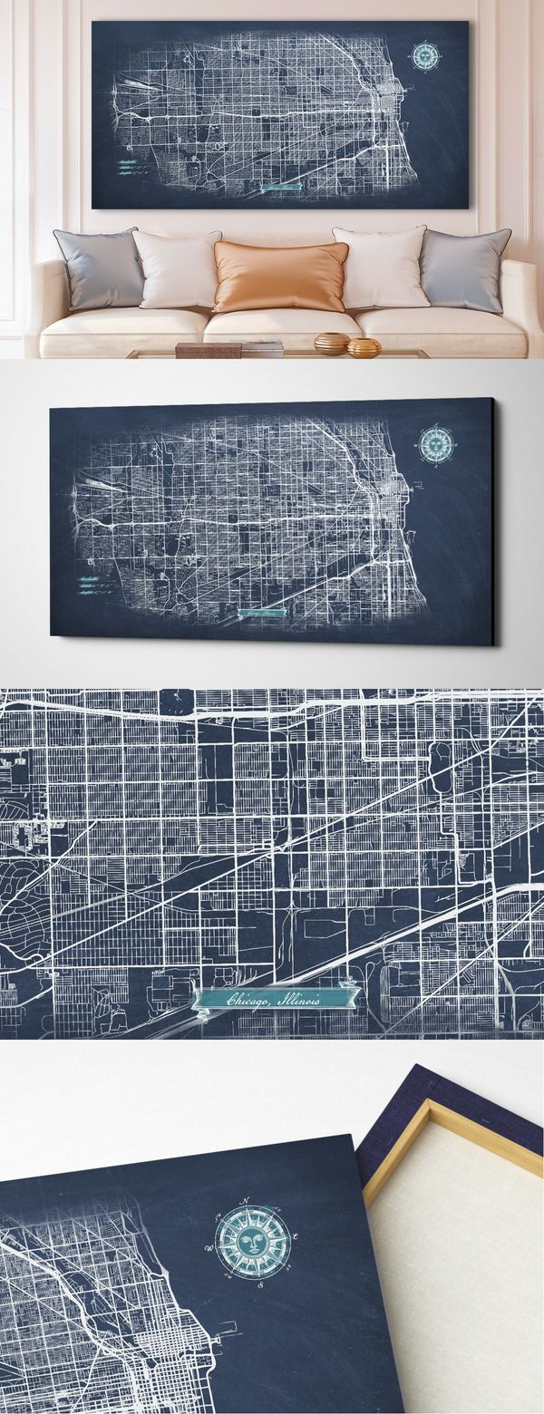 Canvas maps Wall Decor ready to hang