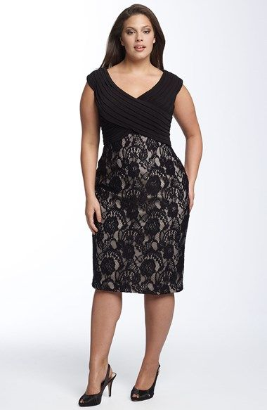 Adrianna Papell Matte Jersey & Lace Sheath Dress (Plus) available at #Nordstrom
