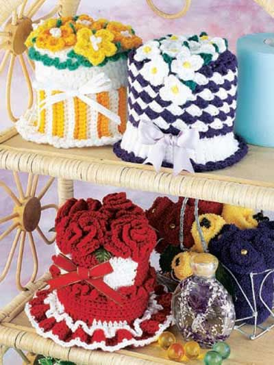 Crochet for the Home - Crochet Decor Patterns - Floral Tissue Roll Covers