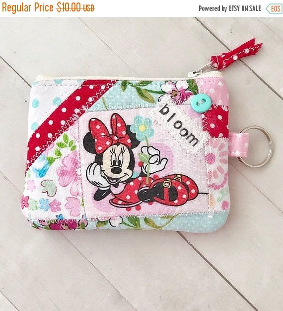Sale Disney Minnie Mouse patchwork zippered keychain coin purse credit card pouch by PopThree on Etsy https://www.etsy.com/listing/543817812/sale-disney-minnie-mouse-patchwork
