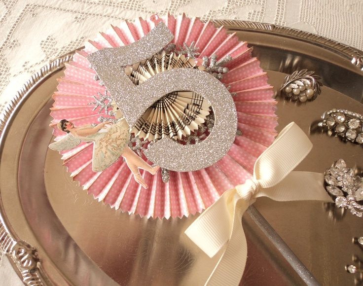 Birthday Ballerina. Hand Crafted Cake Topper, Birthday Wand, in Pink and Silver. $14.00, via Etsy.