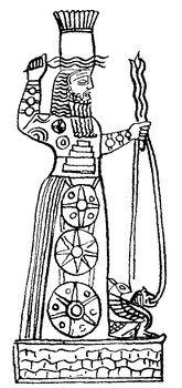 Аккадский бог бури Адад. Фигурка из Вавилона эпохи царя Ассаргадона. Государственный музей. Берлин