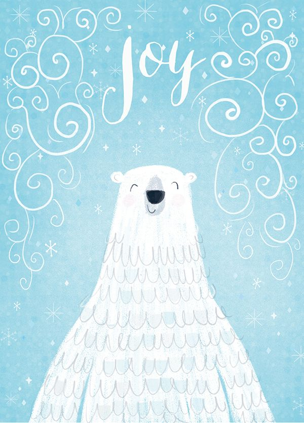 Polar bear illustration color blu sky light blue
