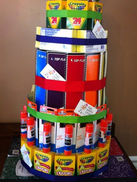 COOL! A School Supply Cake!  DIY Teacher Gifts: Homemade Thank-Yous They'll Use and Love. Alot of people think the school systems give the teachers all of the supplies they need in the classroom; not true. So very, very much is bought out of the teacher's pocket. A gift like this is much appreciated and used!!