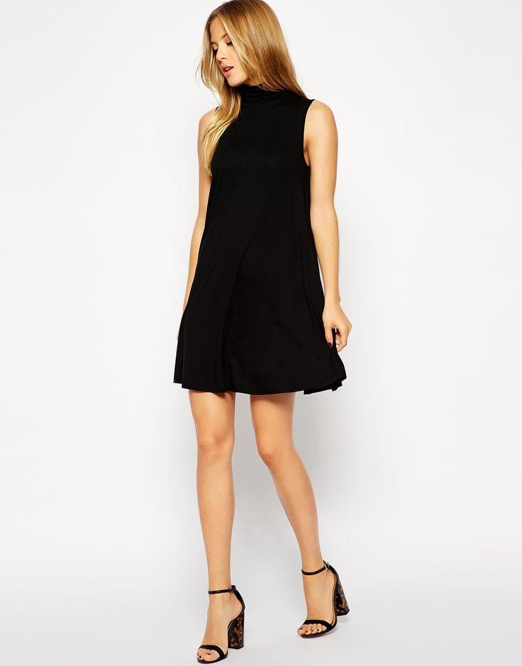 Image 4 ofASOS Sleeveless Swing Dress with Polo Neck