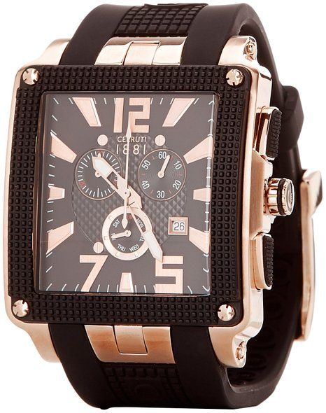 Cerruti Quartz Chronograph Date Black Silicone Watch# CRB012D224G (Men Watch)