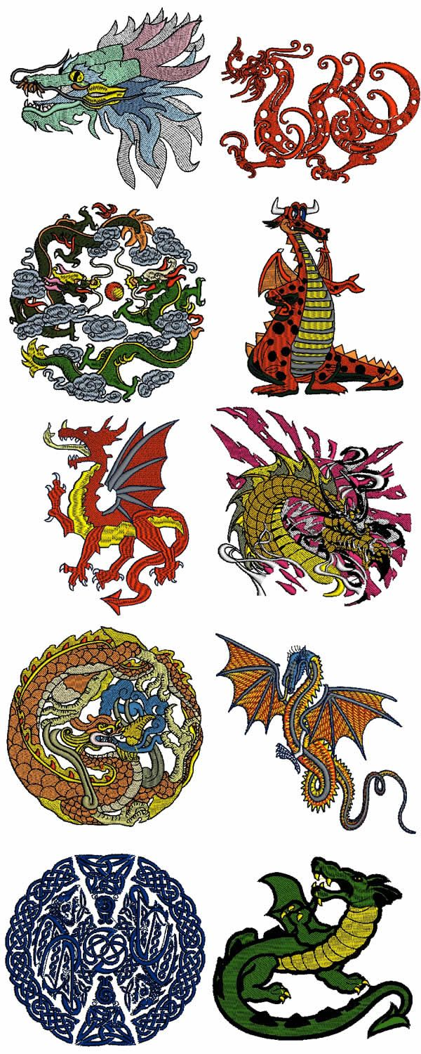 10 set of Dragons Embroidery Design