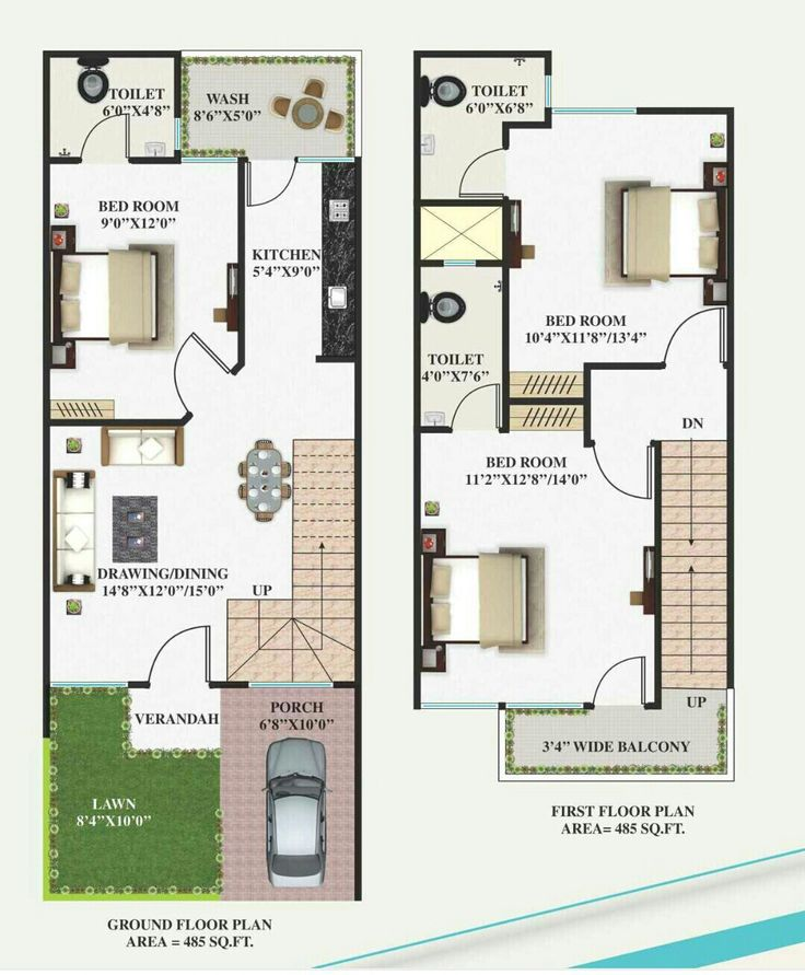 Duplex House Plans, 2bhk