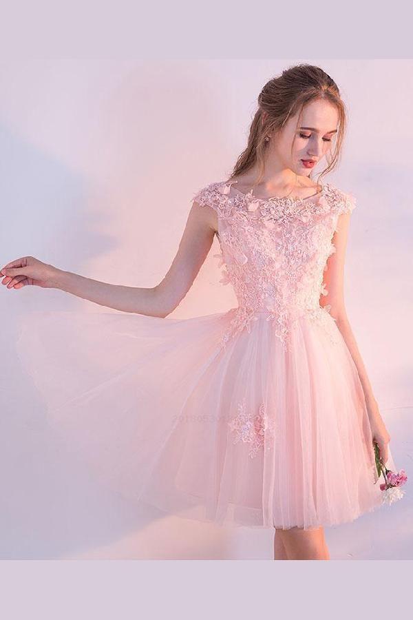 ad2c3636d Pink Prom Dress, Prom Dress Lace, Short Prom Dress #ShortPromDress  #PromDressLace #