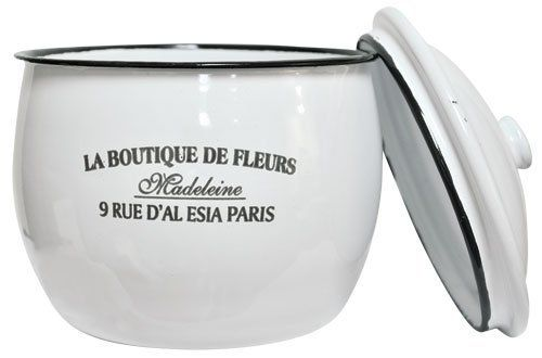 Whether holding your jewelry in the bedroom, storing wrapped candies in the kitchen, or just decorating the shelf, the Enamelware Fleur Bowl makes a great vintage accent!