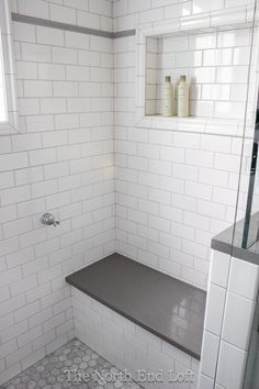 White Subway Tile With Thin Grey Grout Lines And Built In Shelving With Tile For The Master Shower Great Idea To Add The Extra Hand Held Shower Holder Back