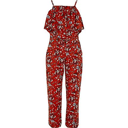 Girls red floral frill cami jumpsuit £18.00