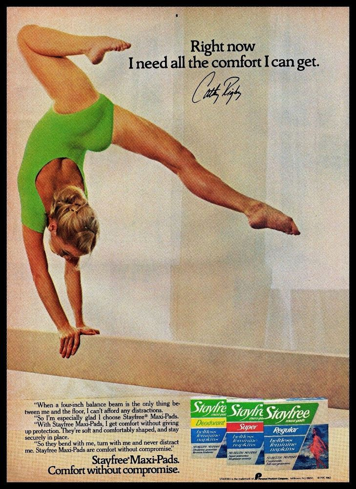 #1980s #CathyRigby Stayfree Maxi Pads #Gymnast Balance Beam #Vintage Photo Print #Ad #Stayfree
