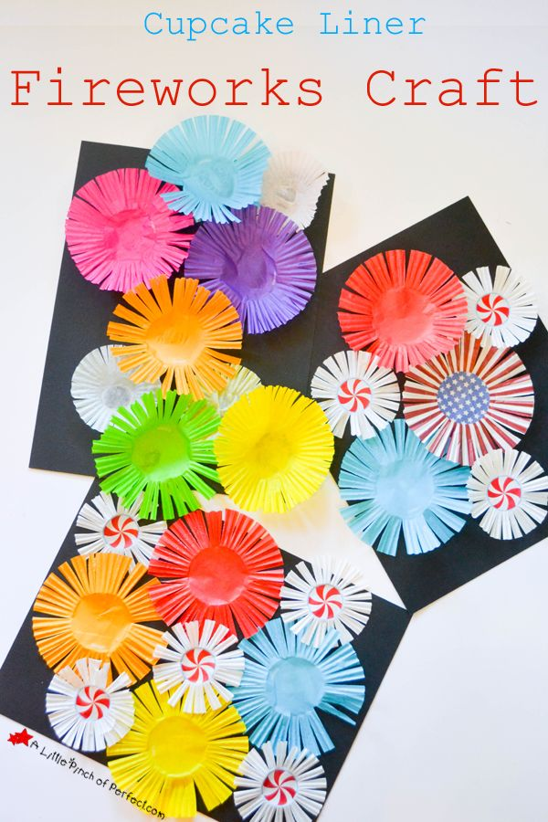 Cupcake Liner Fireworks Craft for Kids -                                                                                                                                                                                 More