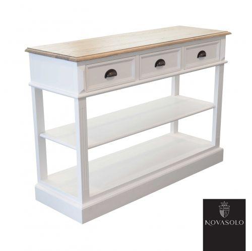 Lekkert og praktisk Hamilton konsollbord med rikelig oppbevaringsplass. Konsollbordet har en pen fargekombinasjon med hvitmalt kropp mot topplaten i eik.