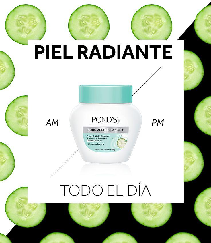 Luce una piel limpia, fresca y suave las 24 horas. ¿Cómo? Limpia tu piel en la mañana y en la noche con POND'S® Cucumber Cleanser. Este limpiador ligero, con infusión de pepino, remueve el maquillaje y ayuda a tu piel a recuperar su humedad.