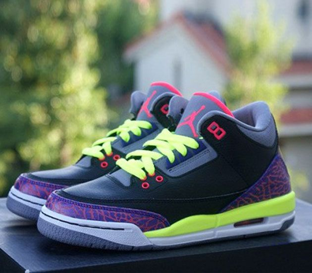 Air Jordan III GS – Black / Purple – Volt
