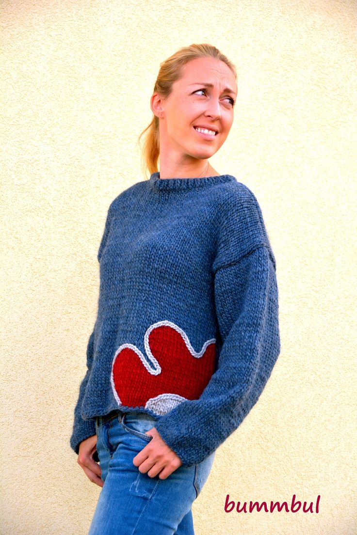 Knit sweater for women, Light blue knit sweater, hand knitted sweater with flower, M size ,3/4 sleeves,  womens clothing - pinned by pin4etsy.com