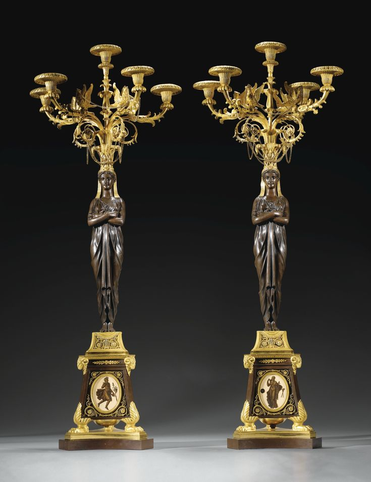 A pair of gilt-bronze and patinated bronze hard-paste porcelain–mounted candelabra attributed to Pierre-Philippe Thomire (1751-1843), the porcelain attributed to Piat-Joseph Sauvage (1744-1818), Louis XVI, circa 1790
