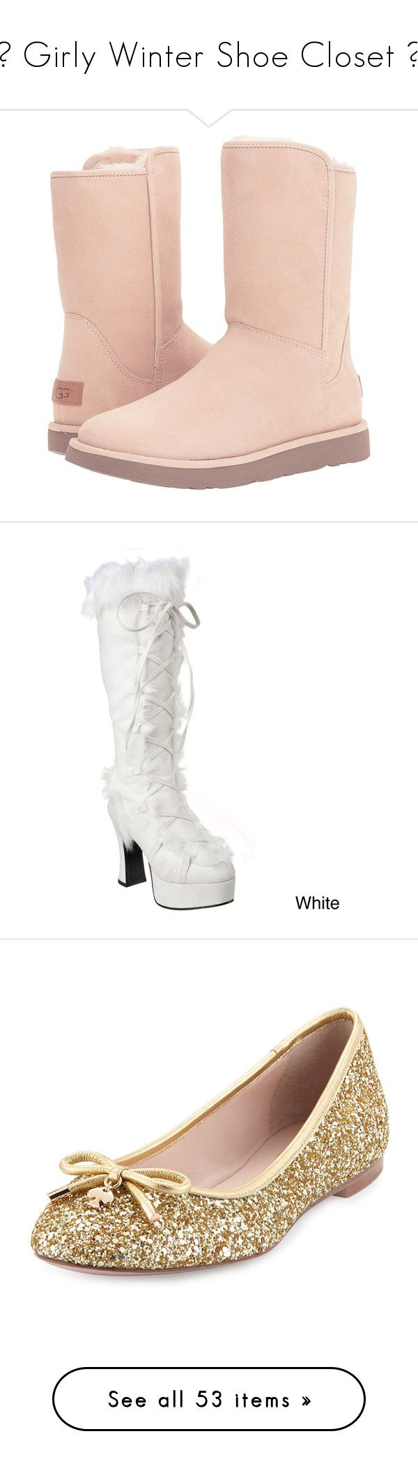 """""""♡ Girly Winter Shoe Closet ♡"""" by kaylalovesowls ❤ liked on Polyvore featuring shoes, boots, ankle booties, ankle boots, white, short ankle boots, white booties, ugg flats, white flats and mid-calf boots"""