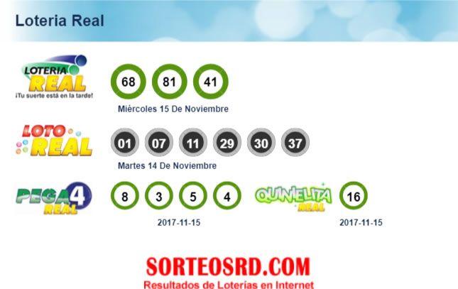 Resultados de loteria real, quiniela real, pega 4 real, miércoles 15 de noviembre 2017