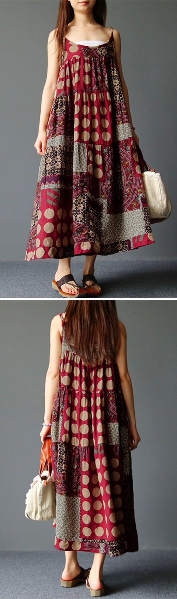 US$ 20.85   Gracila Bohemian Spaghetti Strap Printed Vintage Long Maxi Dresses