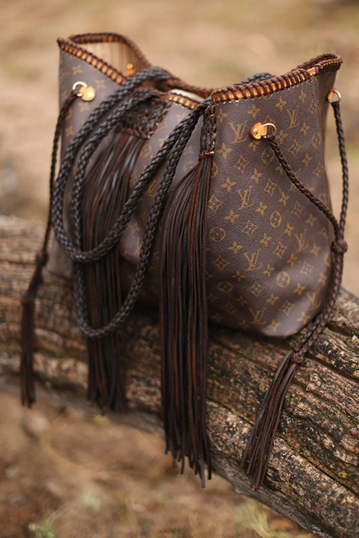 Beautiful Re Imagined Louis Vuitton Purses And Bags By Vintage Boho Large Leather Fringed Bag Dark Fall Handbags Louis Vuitton Bag Fall Handbag Trends