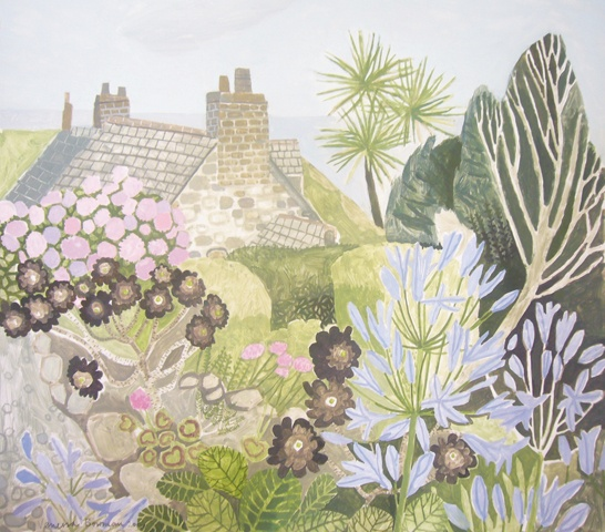 Garden in Coverack | Oil on Card by Vanessa Bowman.