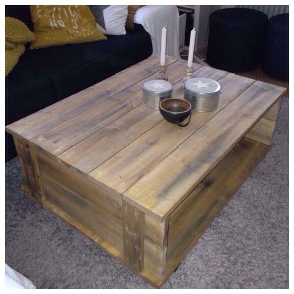 #DIY Då jag är väldigt förtjust i lådor, så fick utseendet av en låda bli inspirationen till detta enkla #bord vi  snickrat av bräder som jag betsat ,#diybord,diytable,#soffbord, coffe table ,#vardagsrumsbord..gav mer värme i vårat vardagsrum än det vita vi hade tidigare.