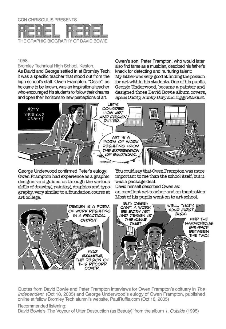 The influence of David & George Underwood's art teacher, Owen Frampton. REBEL REBEL The graphic biography of David Bowie Epis.#73: www.socomic.gr/rebel-rebel-73  Every Wed and Fri from www.facebook.com/con.chrisoulis.artist - the creator of TALES OF THE SMITHS and DRYLAND.  #DavidBowie #Bowie #comics #graphicsnovel #manga #illustration #ΚΩΝΧρυσούλης #ConChrisoulis #GreekComics #Κόμικς #Κόμιξ #ΕλληνικάΚόμικς