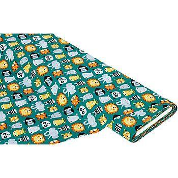 """Exklusiv von buttinette: Baumwollstoff """"Zootiere"""", Motivgröße Löwe: 5 x 4,5 cm, Farbe: petrol-color, Breite: 135 cm, Gewicht: ca. 110 g/m². Material: 100 % Baumwolle.Löwe, Giraffe Elefant & Co warten nur darauf, in kreative Näh-Ideen umgesetzt zu werden. Die süßen Tiermotive sind für Kissenbezüge, Wickeltaschen, Krabbeldecken und für vieles mehr toll ge..."""