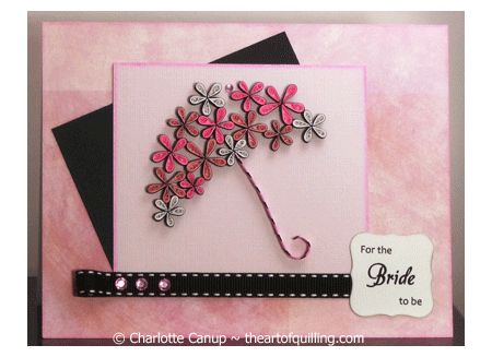 Special card made for my niece's wedding shower. She liked it so much she framed it! Designed and quilled by Charlotte Canup, theartofquilling.com.