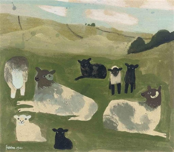 Mary Fedden - Sheep, 1980, gouache