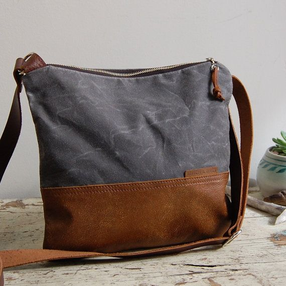 Hey, I found this really awesome Etsy listing at https://www.etsy.com/listing/250462823/waxed-canvas-and-leather-crossbody-bag