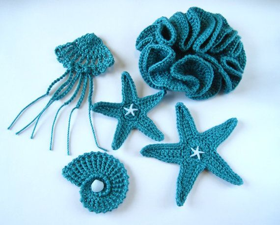 Crochet Sea Motifs, Set of 5 in Teal, Sea Star, Sea Shell, Hyperbolic Coral, Jellyfish