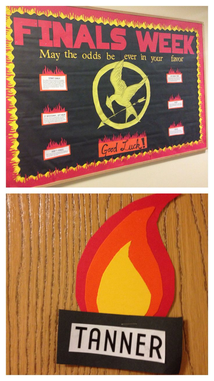 """A """"Hunger Games""""-themed bulletin board for Finals Week."""