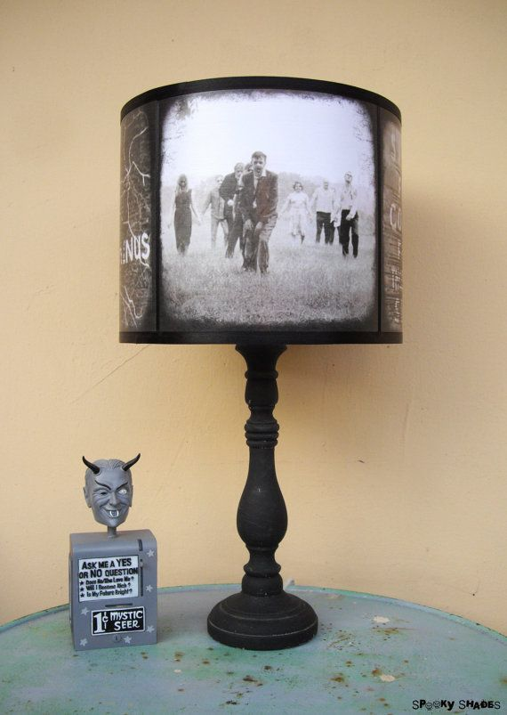 This lamp shade is inspired by The Night of The Living Dead and The Walking Dead! Spooky, not sure I could handle this illuminating my room!