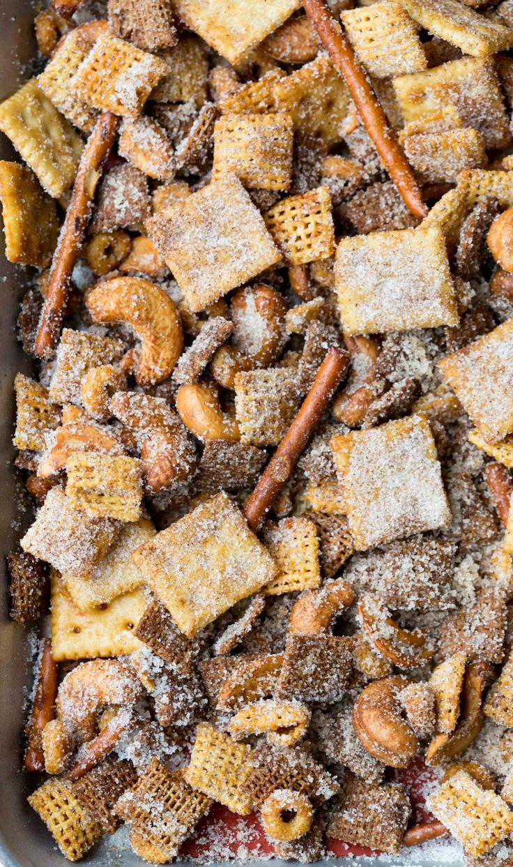 Cinnamon Sugar Sweet and Salty Chex Mix - makes great party food snack or Super Bowl food recipe.
