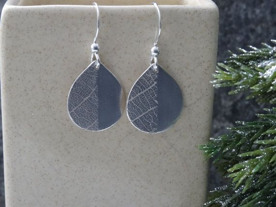 Silver Drop earrings  leaf texture   just by SilverWindsJewellery