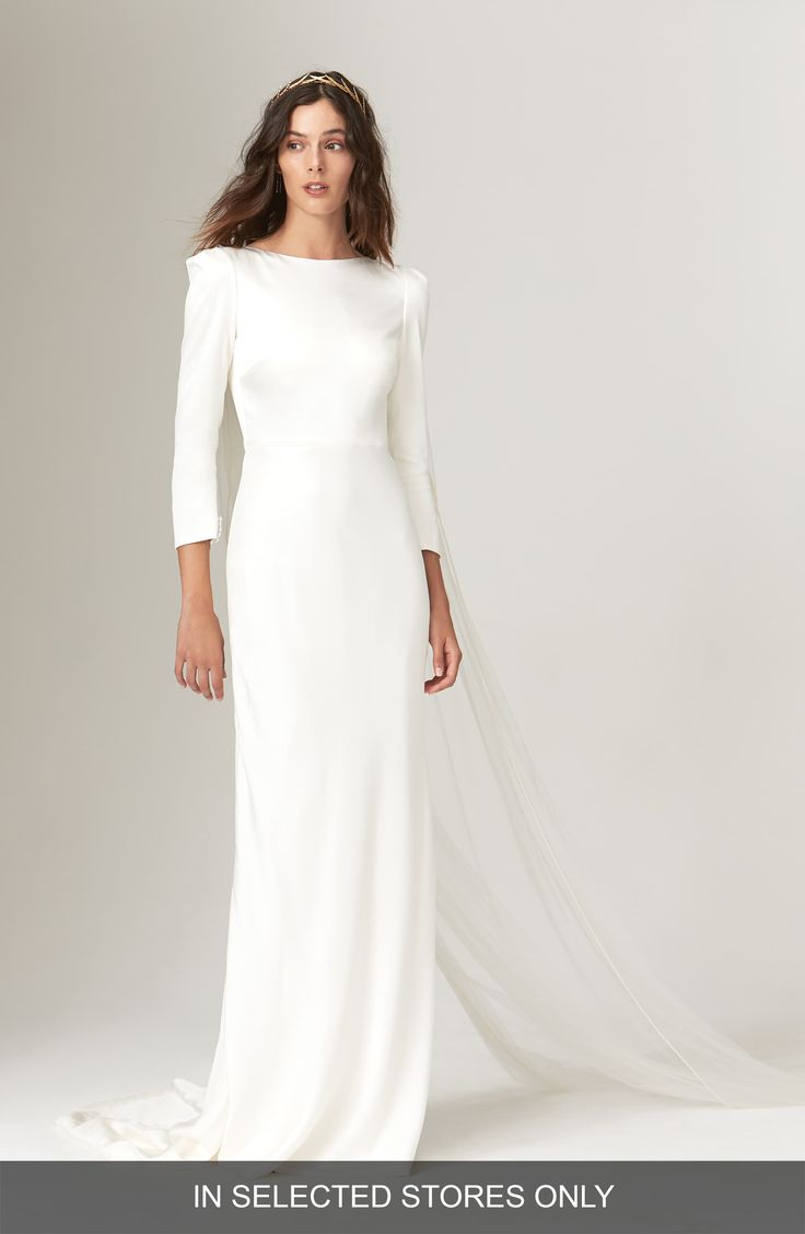 Women's Savannah Miller Gwendolyn Long Sleeve Open Back Wedding Dress, Size IN STORE ONLY – Ivory