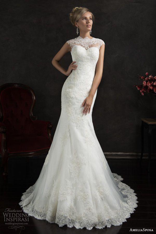 valensia cap sleeve lace trumpet wedding dress