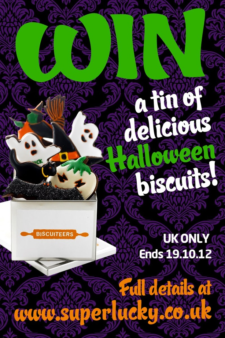WIN a tin of delicious Biscuiteers Halloween biscuits at www.superlucky.co.uk!