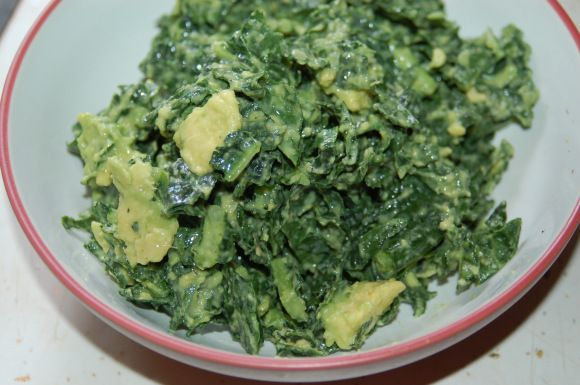 Kale and Avocado Salad from Engine 2 Diet - added a handful of roasted sun flower seeds made a great addition!!!