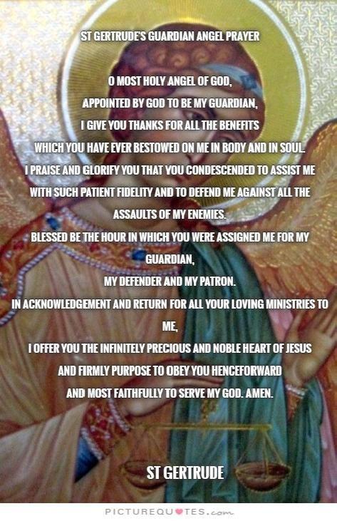 St Gertrude's Guardian Angel Prayer