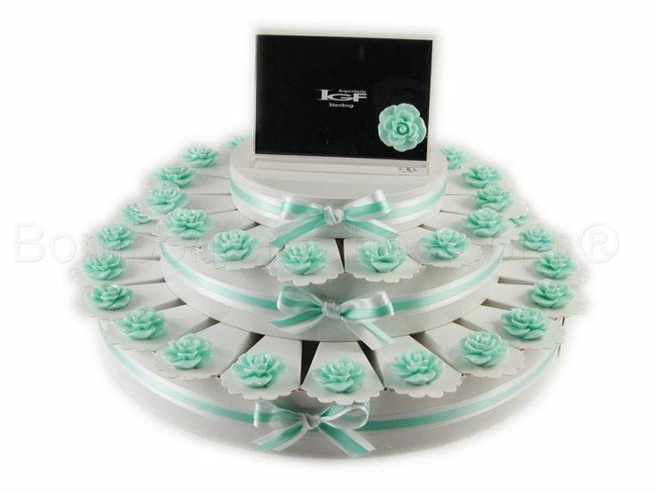 Torta bomboniera 38 fette con boccioli di rosa colore Tiffany