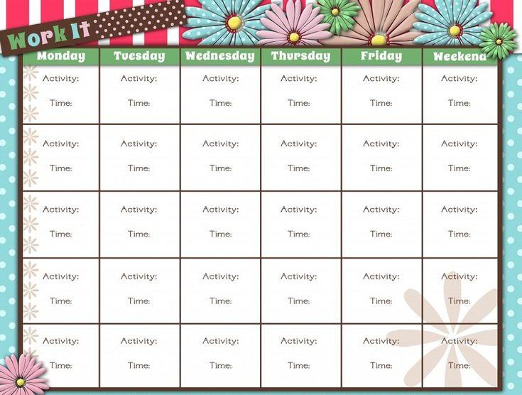 66 best Calendar Template Printable images – Workout Calendar Template