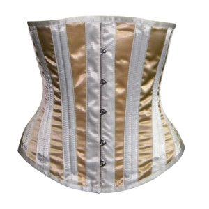 white and beige underbust waist training corset