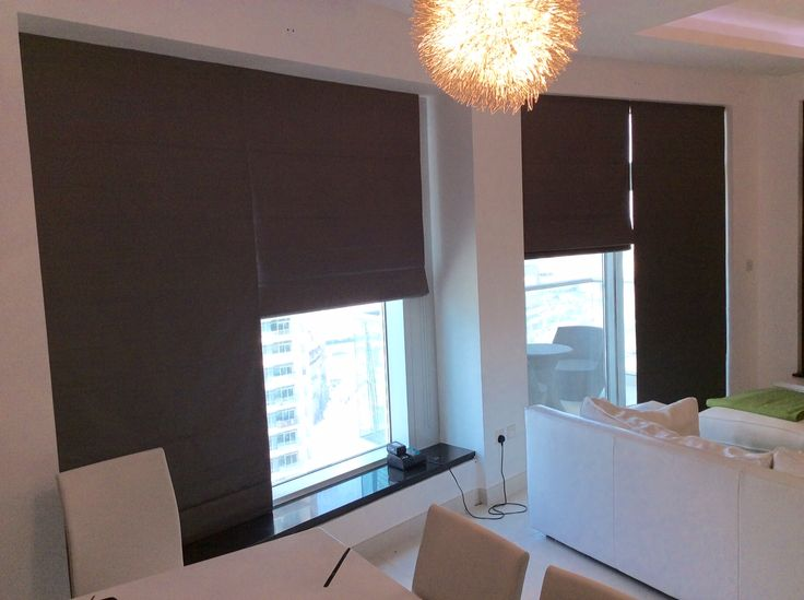 Brown Roman Blinds fitted by us | Testimonials | Rimini Blinds